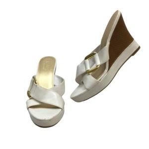 CHAPS Makayla White Wedge Mule Sandal 8.5